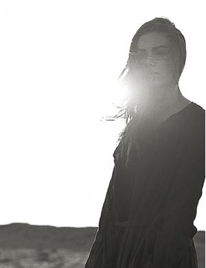 Woman at dusk image photo.